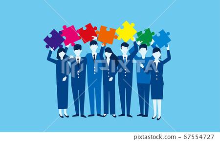 男人和女人的拼圖,多樣性和多樣性的插畫形象 67554727
