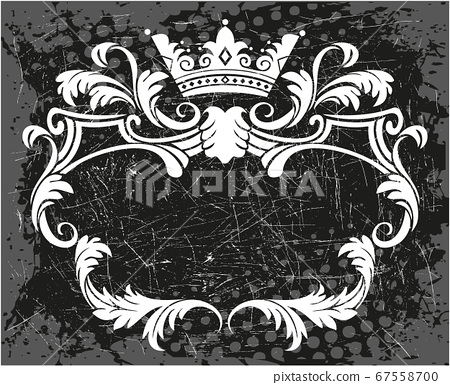 Decorative black and white frame with crown 67558700