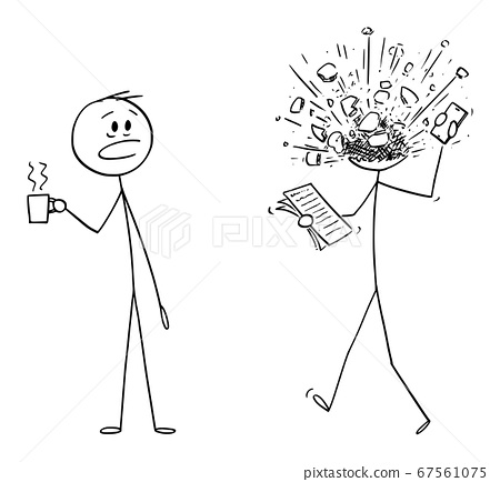 Vector Cartoon Illustration of Man, Office Worker or Businessman At Work, His Head Exploded From Stress or Overwork. 67561075