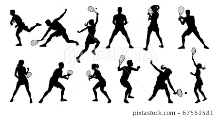 Silhouette Tennis Players Sports People Set 67561581