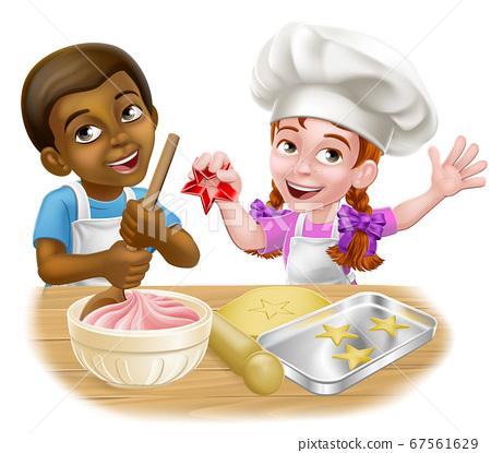 Girl and Boy Cartoon Child Chef Cook Kids 67561629