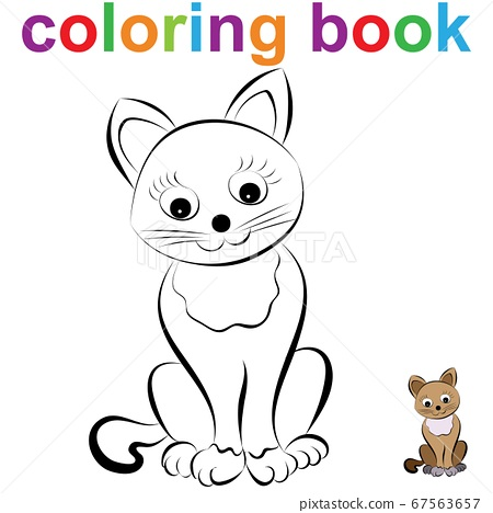 Coloring book page template with a cute sitting 67563657
