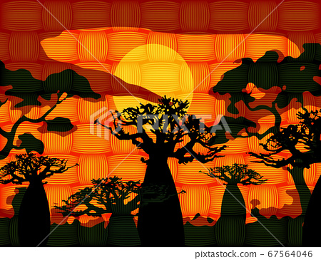 sunset with landscape of baobab trees. Forest of Boab or Baobab Tree background. African Wax Print fabric, weaved fiber pattern batik. Vector cartoon illustration, Andasonia tree silhouette icon 67564046