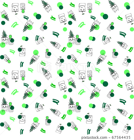 Green seamless pattern with home plants illustrations, funny and bright pattern for home textile, fabrics, wrapping paper and gift boxes 67564435