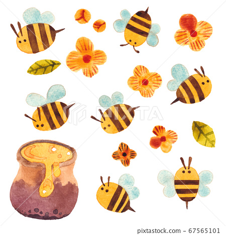 꿀벌과 꿀 항아리 67565101