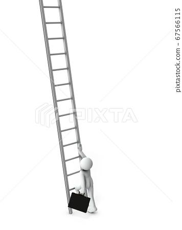 미지의 계단을 올라 시작하려는 사업. 3D 렌더링. 67566115