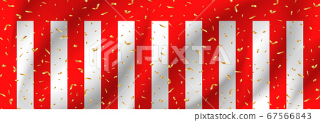 Red and white curtain and confetti 67566843