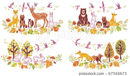 秋天的落葉和落葉和動物插圖集 67568673