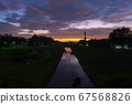 석양 하늘과 利根運河 67568826