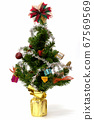 Christmas tree with colorful ornaments on white background 67569569