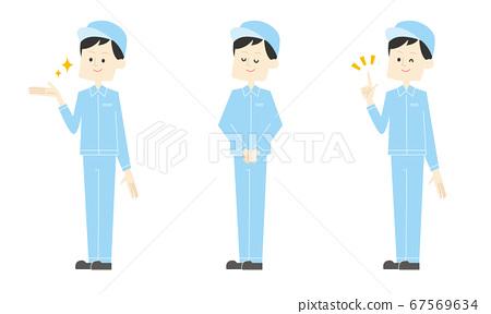 남성 공장 근로자 세트 (손으로 가리키는 · 인사 · 가리키며) 벡터 일러스트 67569634