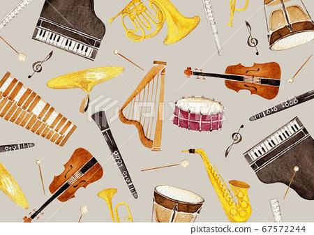 악기 오케스트라 배경 섬유 수채화 일러스트 67572244