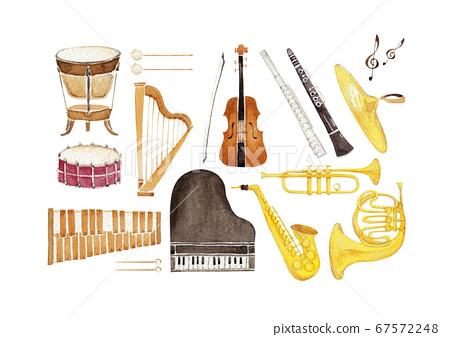 樂器樂團圖標設置水彩插圖 67572248