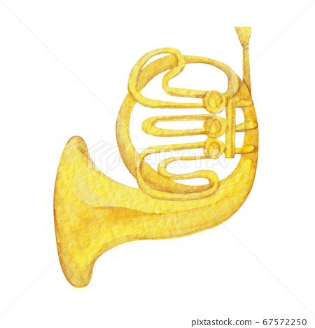 喇叭樂器樂團水彩插圖 67572250