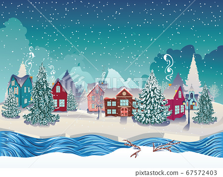 Winter village landscape 67572403
