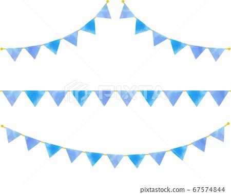 花環設置水彩矢量素材淺藍色 67574844