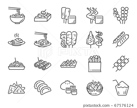 Thai street food line icon set. Included the icons as dumplings, skewer, sausage, grilled chicken wings, asian style, fruit bowl, pad thai and more. 67576124