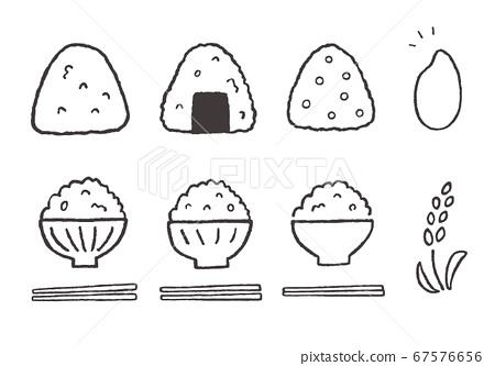 手繪插圖的米飯,飯糰和米飯(單色) 67576656