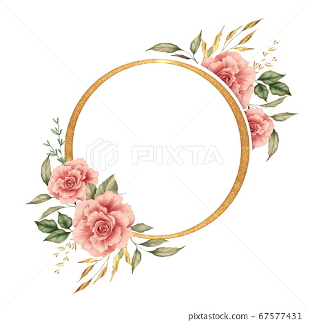 Watercolor flowers and gold round frame 67577431
