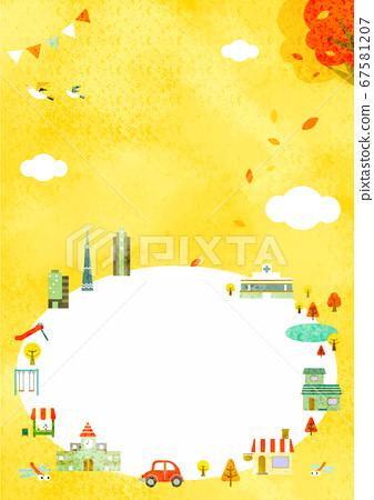 가을 도시 풍경 프레임 풍 배경 일러스트 수직 67581207