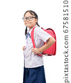 Portrait of cute asian girl student  wear uniform 67581510
