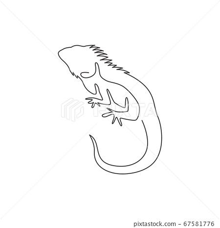 One single line drawing of exotic iguana for company logo identity 67581776