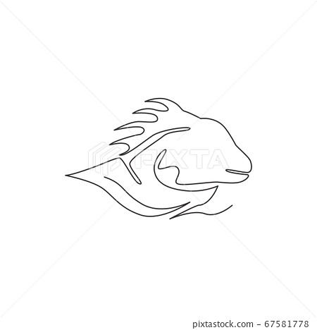 One single line drawing of exotic iguana head for company logo identity. 67581778
