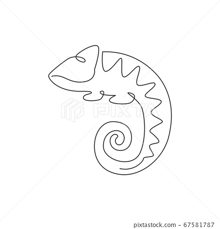 One continuous line drawing of beauty chameleon with spiral tail mascot concept for reptilian pet lover society 67581787
