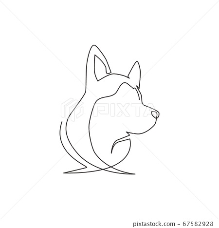 One continuous line drawing of simple cute siberian husky puppy dog head icon 67582928