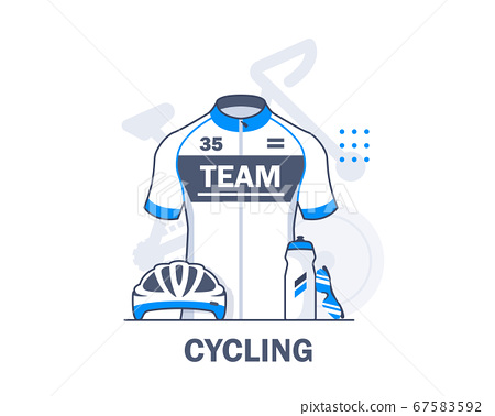 Cycling,Biking,linear,Cycling equipment,flat design icon vector illustration 67583592