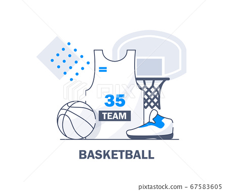 Basketball set and shoes,flat design icon vector illustration 67583605