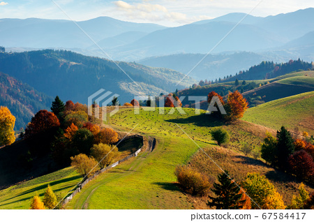 mountainous rural landscape in autumn. fields on 67584417