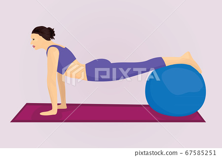 A plank position with a ball 67585251