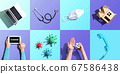 Telehealth theme flatlay with overhead tiles 67586438