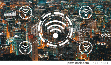 Wifi theme with downtown Chicago skyscrapers 67586884