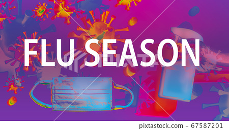Flu Season theme with face mask and spray bottle 67587201