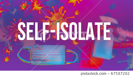 Self-isolate theme with face mask and spray bottle 67587202
