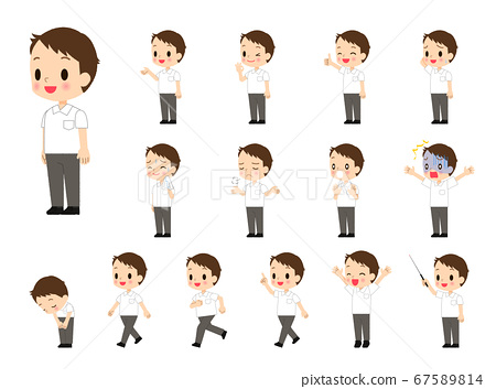 Boy in summer uniform-15 body poses 67589814