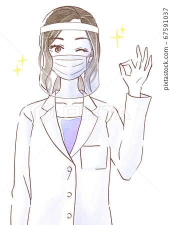 穿一件白色外套和擺好與面罩和麵具的年輕女子 67591037