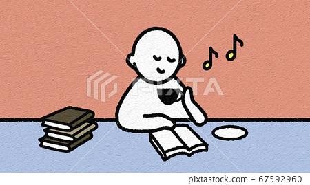 커피를 마시면서 독서하는 사람 67592960