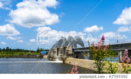 광주 승촌보 댐과 맑은 하늘 67593392