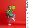 Kid with backpack on color background. 67594540