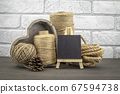 Assorted balls of hemp twine with rope and slate 67594738