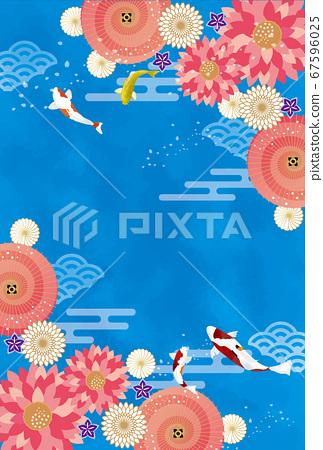 浮世繪日式背景素材日本庭園錦木 67596025