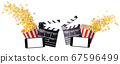 Flying popcorn, film clapper board and phone isolated on white background 67596499