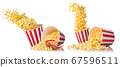 Set of flying popcorn from paper bucket and scattered popcorn isolated on white 67596511