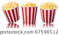 Set of paper striped buckets with popcorn isolated on white background 67596512