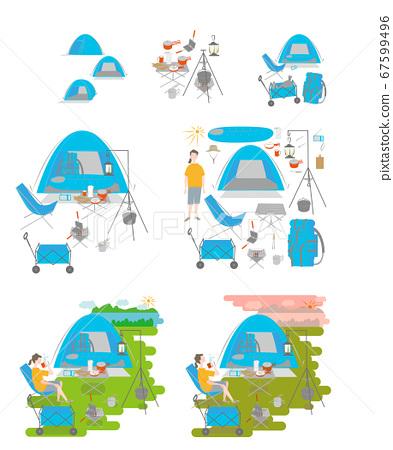 캠핑을하는 여성 세트 67599496