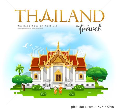 Thailand temple, Wat Benchamabophit, bangkok 67599740