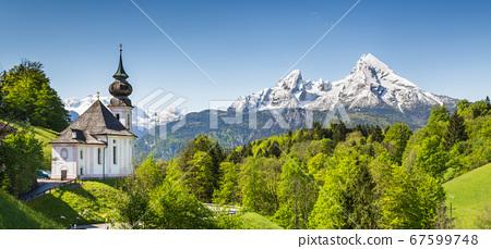 Beautiful mountain landscape with Maria Gern chapel and Watzmann mountain peak in the Bavarian Alps, Germany 67599748